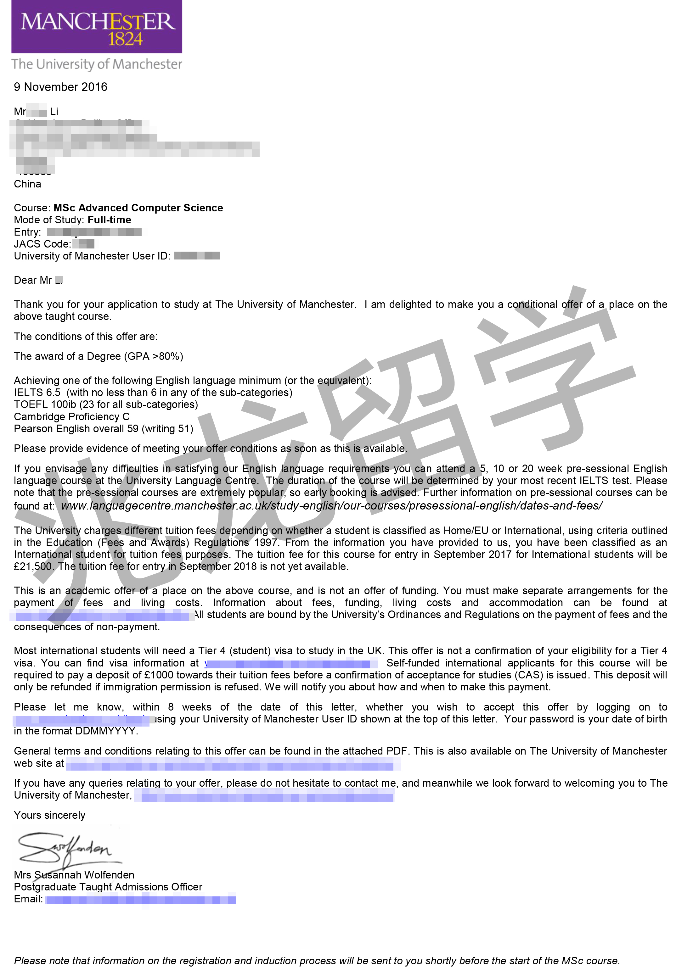恭喜兆龙李同学获得英国曼彻斯特大学计算机offer