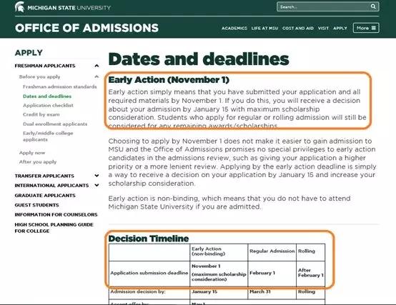 """截止日期最大的变化来自于向来以""""滚动截止""""著称的Michigan State University, 从今年开始Michigan State University的新生申请开始有了""""底线"""".webp.jpg"""