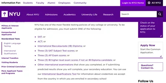 以及New York University同样采用这样录取政策。对于大多数国际申请者而言,Test-Flexible看上去很美好,但是我们仍需要全力准备SAT或ACT的考试.webp (1).jpg
